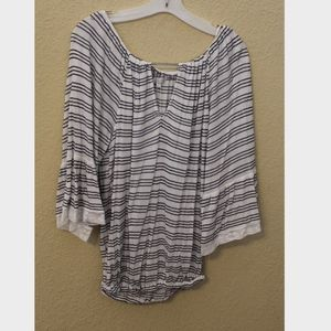 Lucky Brand Blue Striped Blouse with Lace Detail